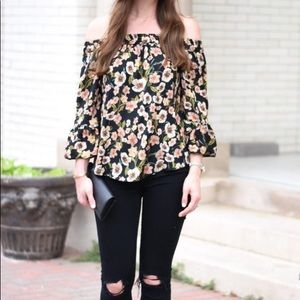 Topshop | floral off the shoulder top